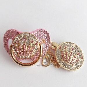 Шикарная белая блестящая пустышка с розовой короной, пустышка с клипсой, bPA бесплатно, FDA, безопасная пустышка, уникальная роскошная пустышк...