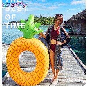 1 unidad de anillo de natación de Flamenco de piña grande, anillo de natación inflable para adultos, decoración de Fiesta EN LA Piscina, colchón de agua, cama para adultos, juguetes de fiesta
