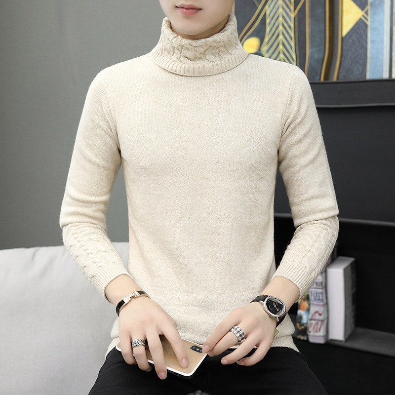 Mens Sweater Winter Long Sleeve Youth Beige White Black Navy Turtleneck Casual Standard Pullovers Solid Mens Sweaters
