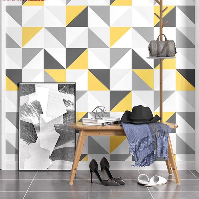 Scandinavian Minimalist Grid PVC Waterproof Wallpaper Living Room Bedroom TV Backdrop Wall Hotel Theme Room Engineering Wallpape
