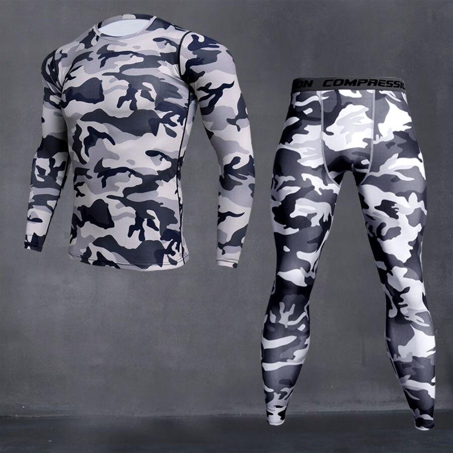 running - Men's Sport Running Compression Set T-shirt + Pants Skin-tight Long Sleeves Fitness Rashguard MMA Gym Training Clothes