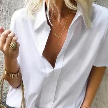 Camisa de talla grande 2019 para mujer, cuello en V profundo, sólido corto de manga, camisas casuales de moda para mujer, Tops de verano, Blusas formales de oficina 1