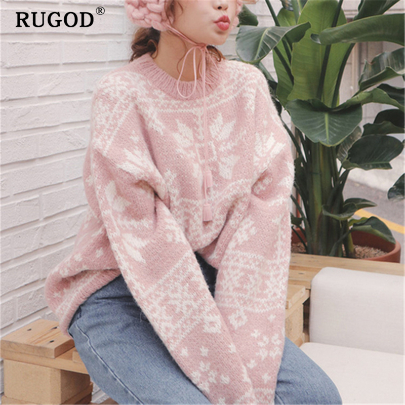 RUGOD Fashion Knitted Christmas Sweater Women Korean Chic Batwing Sleeve Loose Winter Warm Pullovers 2019 Casual Printed Sweater