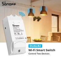 Sonoff-듀얼 2CH 와이파이 스위치 듀얼 조명 제어 원격 와이파이 스위치 제어 두 장치 스마트 무선 스위치 alexa와 호환