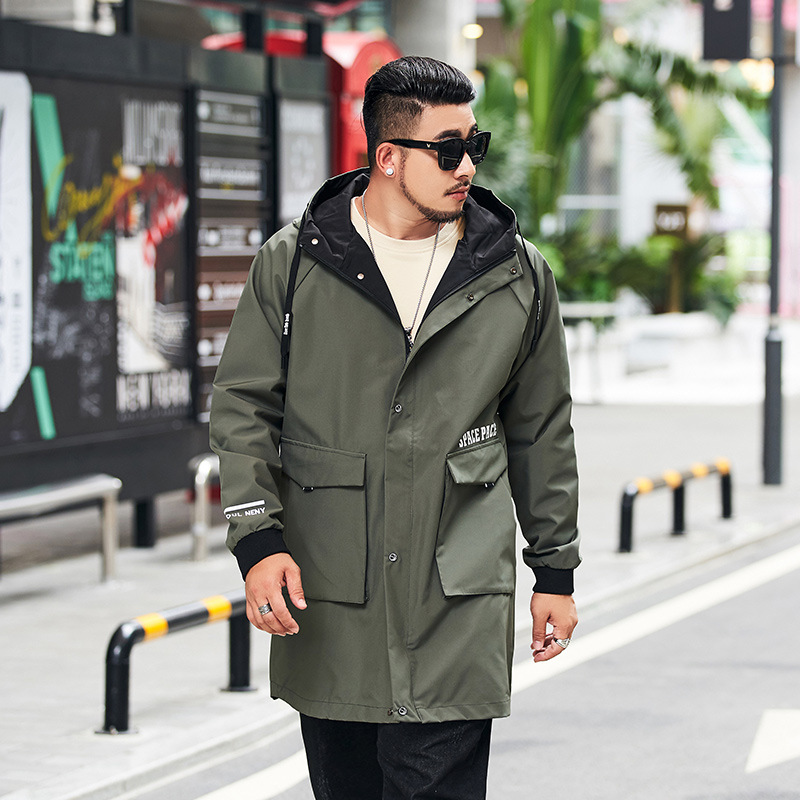 Trench-Coats Jackets Windbreakers Hooded Male Autumn Men's Long Fat Casual New L-8XL