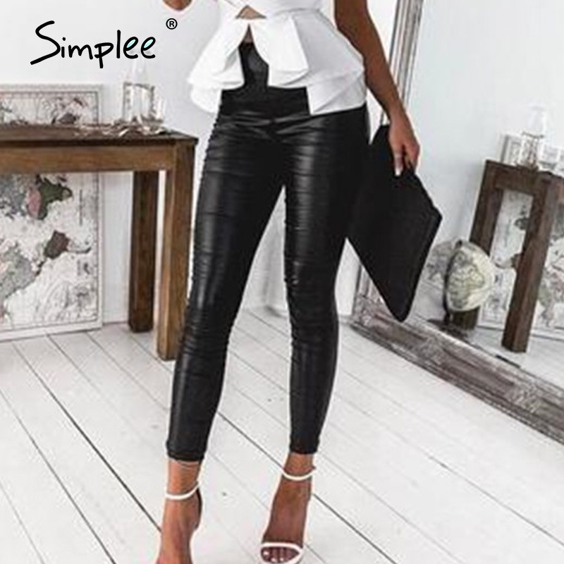 Simplee Pu Leather Highstreet Women Long Pants Black High Waist Slim Pencil Trousers Spring Casual Chic Party Pu Skinny Pants