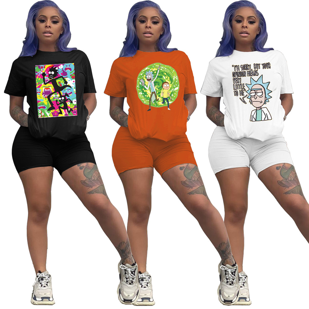 Cartoon Print Two Piece Set Women Tracksuit Summer Clothes Crop Top Biker Shorts Lounge Wear Party Club Outfits Matching Sets