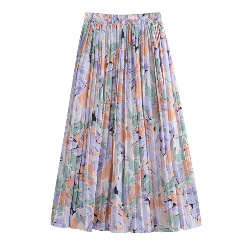 REALEFT New 2021 Vintage Floral Printed Tulle Pleated Mi-long Women Skirts High Waist Loose Female Umbrella Skirts Spring Summer 6