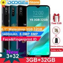 "Doogee Y8 אנדרואיד 9.0 טלפון סלולרי 4G LTE 3GB 32GB 6.1 ""FHD 19:9 מסך 3400mAh MTK6739 פנים נעילת טביעות אצבע מזהה Smartphone"