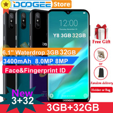 "Doogee Y8 Android 9.0 โทรศัพท์มือถือ 4G LTE 3GB 32GB 6.1 ""FHD 19:9 หน้าจอ 3400mAh MTK6739 Face ปลดล็อคลายนิ้วมือ ID Smartphone"