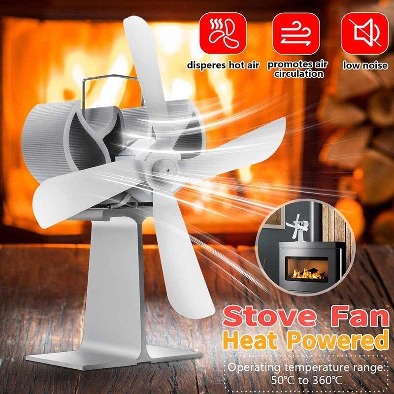 Stove Fan 4 Blade Fan Heat Powered Komin Wood Burner Eco Fan Friendly Quiet Home Efficient Heat Distribution