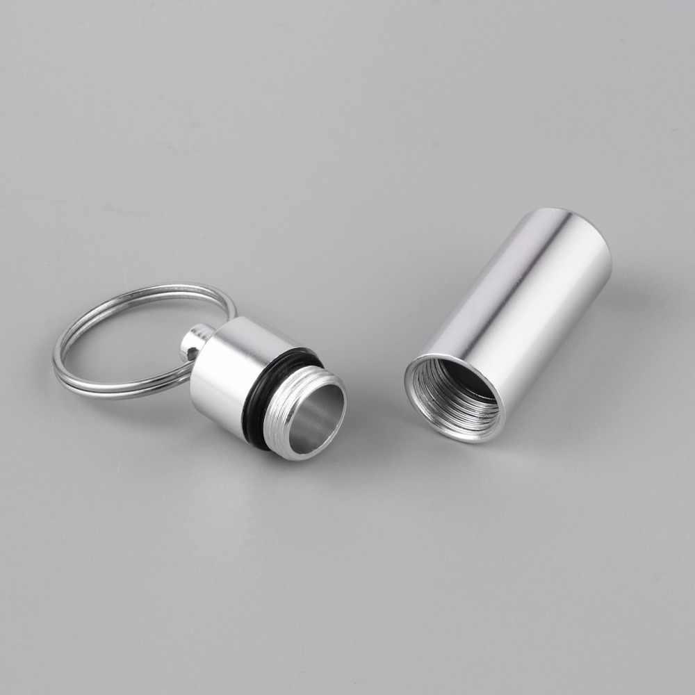 1pc chaveiro à prova dmini água mini portátil de alumínio prata pílula caixa caso garrafa cache titular da droga recipiente com chaveiro recém