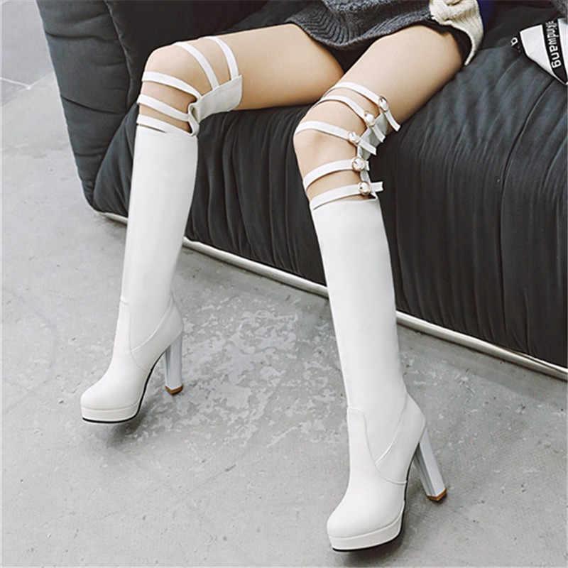 MEMUNIA 2020 yeni varış kadın uyluk yüksek çizmeler oymak sonbahar kış yüksek topuklu platformu çizmeler seksi gladyatör ayakkabı kadın