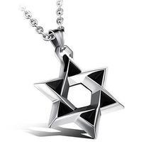 Звезда Давида кулон ожерелье для мужчин из нержавеющей стали