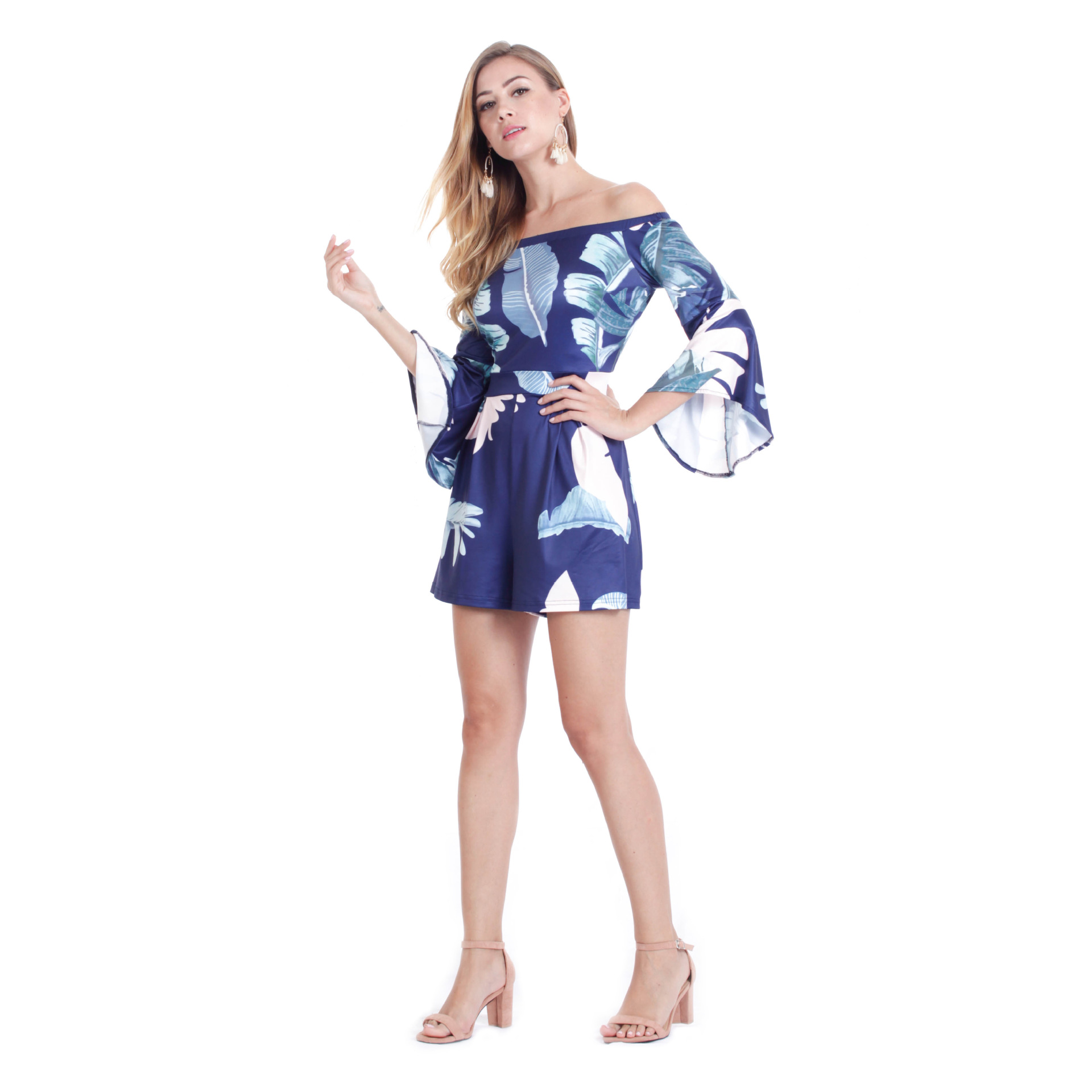 A Generation Of Fat Europe And America WOMEN'S Dress Summer New Style Off-Shoulder Printed Bell Sleeve Set Bohemian Jumpsuit
