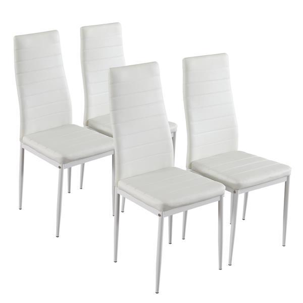 4pcs Modern Simple Dining Chairs Elegant Assembled Stripping Texture High Backrest Dining Chairs White