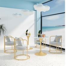 Chair-Combination Sofa Modern Nordic-Light Round-Table Tea-Shop Leisure-Rest-Area Milk