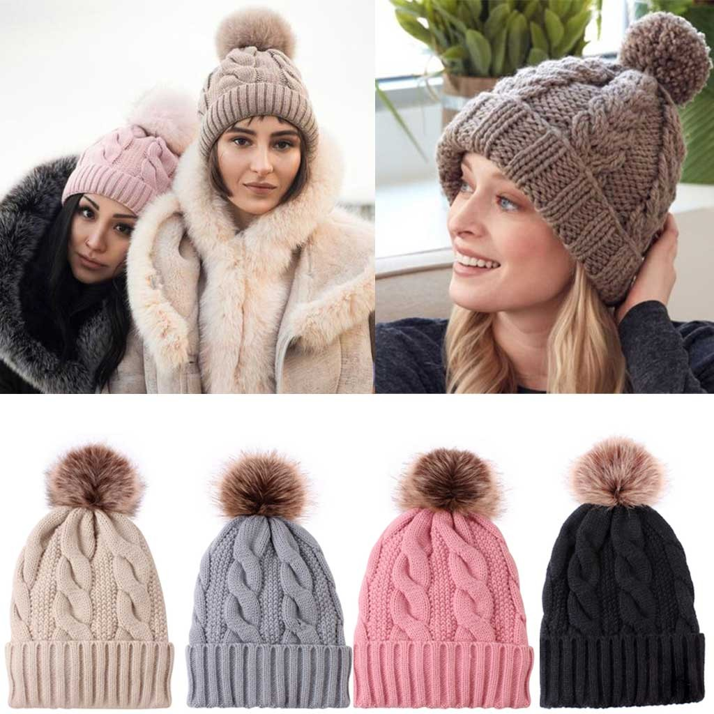 Winter Hats For Women Crochet Knitted Hat Caps Children Keep Warm Wool Fur Ball Pompom Beanies Hats Simple #YL5