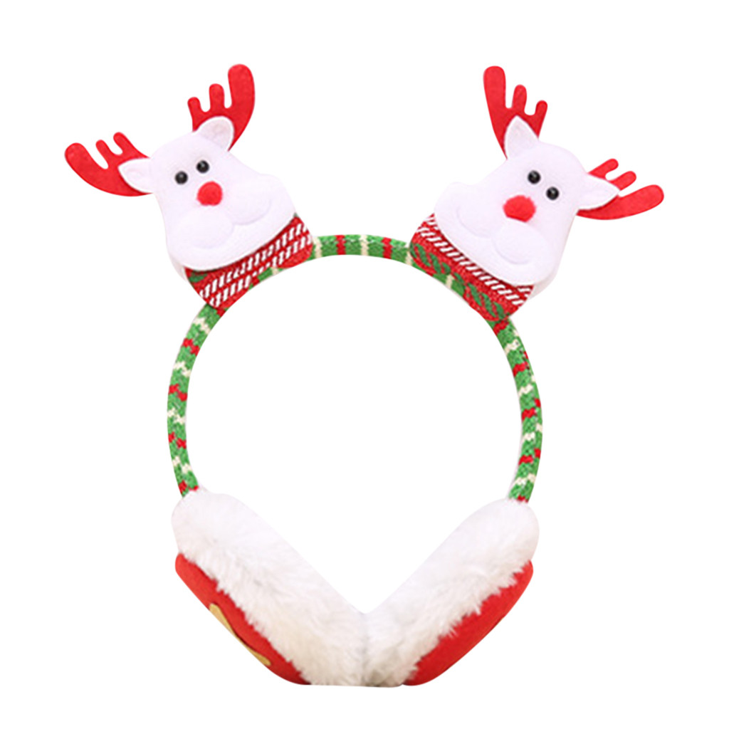 Winter Ear Warmer Fluffy Fur Headphone For Christmas Children Winter Warm Plush EarMuffs Cute Ear Santa Claus  Headband Earmuffs