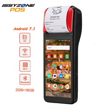 ISSYZONEPOS Android 7.1 PDA Bluetooth Thermal Receipt Printer 58mm 4G WiFi NFC POS Terminal 1D Barcode Scanner Receipt PDA цена 2017