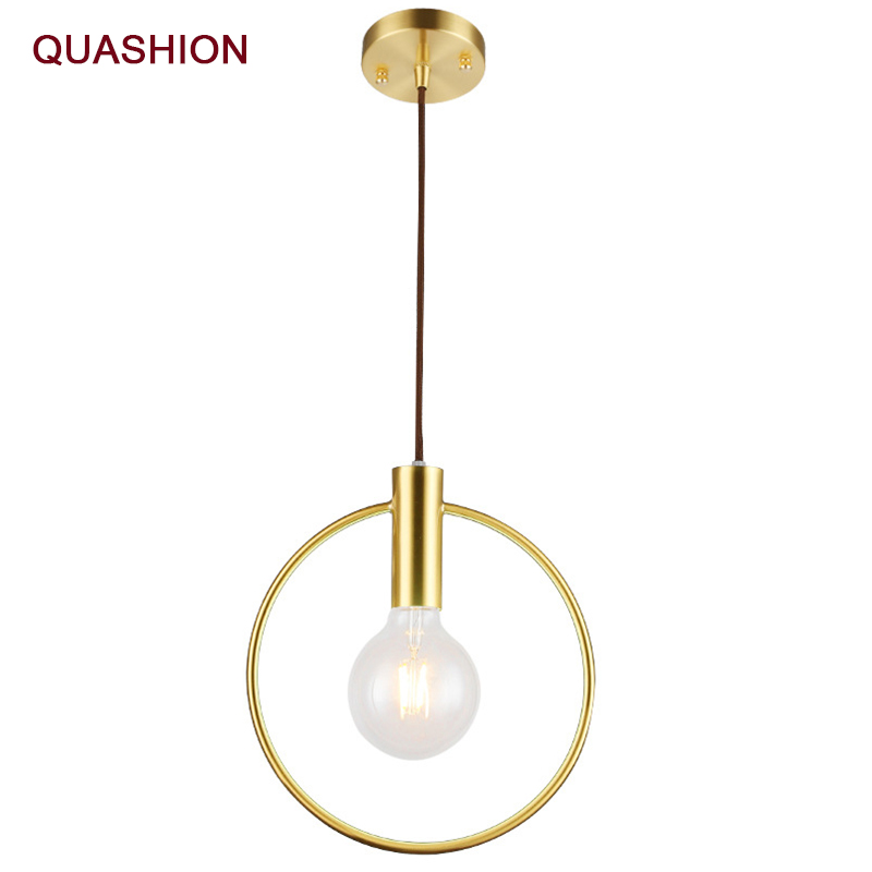 Personality Ins Wind Single Head Ring Pendant Lights  For Bedroom Bedside Dinning Bar Porch Lighting Fixture Hanging Lamp