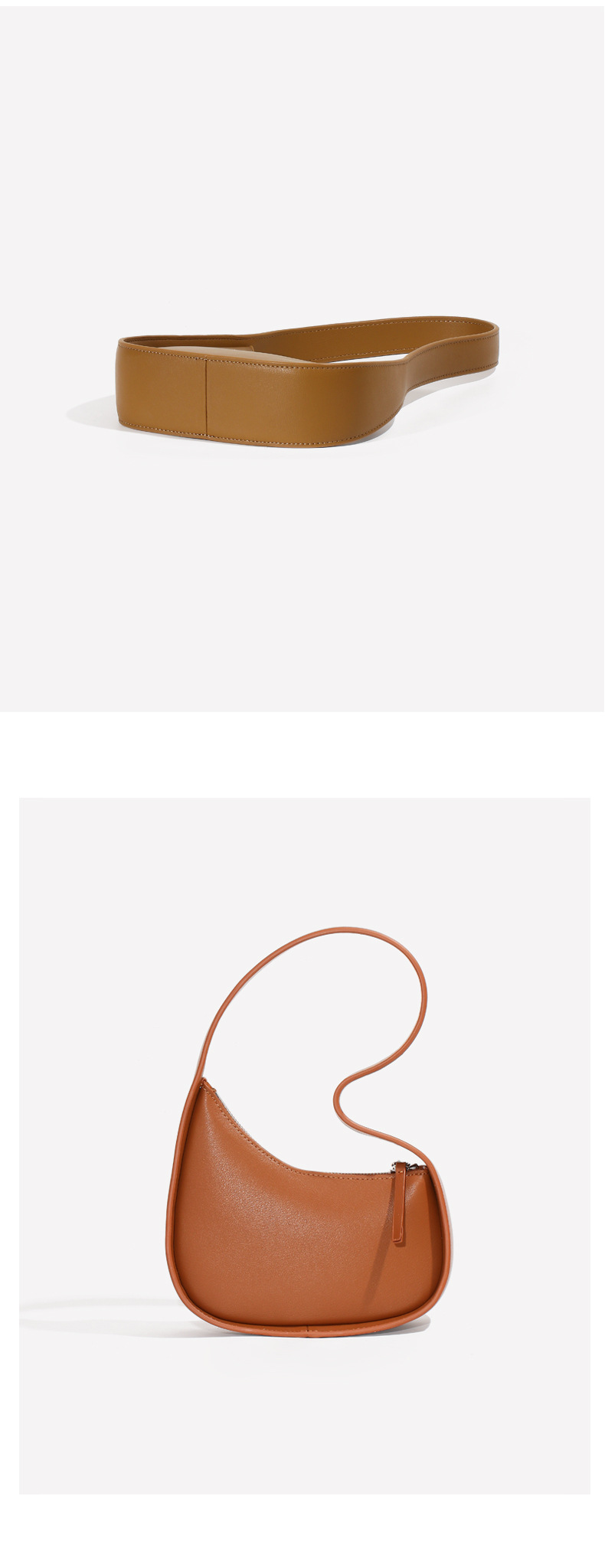 Saco de couro revestido cor sólida axila