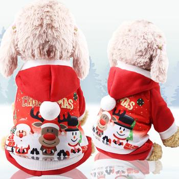 Christmas Patterns Cartoon Dogs Clothes Cats Pet Supplies Flannel Antler Hoodie Small medium large Dog Christmas pet supplies image