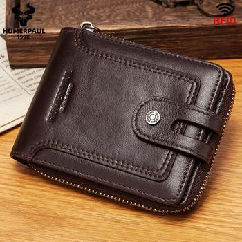 100% Genuine Leather Rfid Wallet Men Small Retro Coin Purse Short Male Card Holder Wallets Hasp Zipper Around Money Bag Quality vintage rfid wallets 100% genuine leather men short wallet for cards male coin purse card holder pocket double zipper design