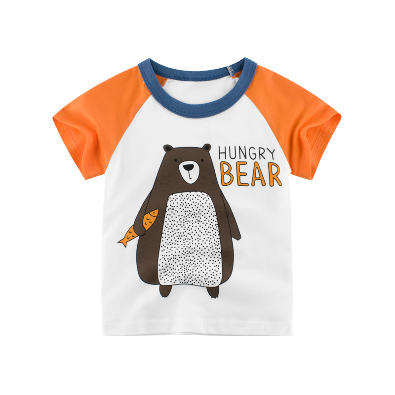 Loozykit/Летняя детская футболка для мальчиков футболки с короткими рукавами и принтом короны для маленьких девочек хлопковая детская футболка футболки с круглым вырезом, одежда для мальчиков - Цвет: S222-11