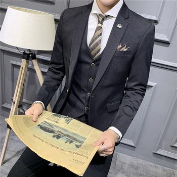 2020 wiosna solidny kolor garnitur dla mężczyzn biznes profesjonalna formalna odzież trzyczęściowy garnitur fala pana młodego ślub Takim Elbise garnitur tanie i dobre opinie COTTON WL490 REGULAR Mieszkanie Proste Zipper fly Pojedyncze piersi Smart Casual