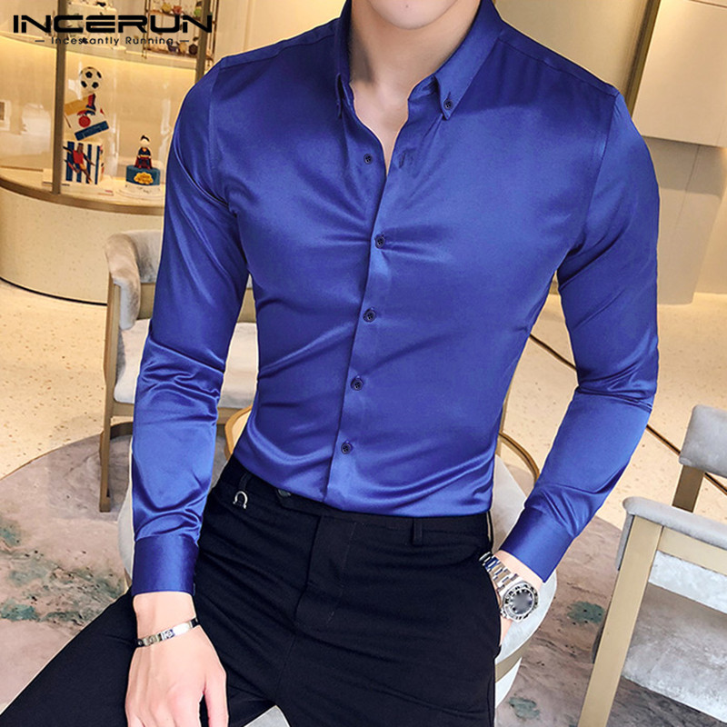 INCERUN Fashion Men Dress Shirt Solid Color Faux Silk Satin Lapel Long Sleeve Brand Business Social Shirts Formal Chemise 2020