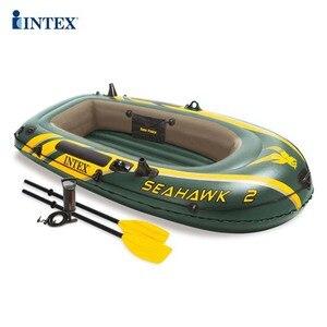 Аксессуары для бассейна надувная рыбацкая лодка гребная лодка Intex Seahawk Challenger двойная надувная лодка Бесплатная весла