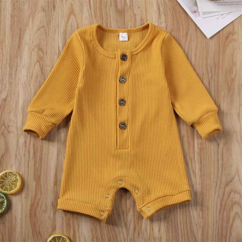 2020 bebé primavera otoño ropa recién nacido bebé niño niña traje de punto suave mono acanalado sólido conjunto de ropa de manga larga