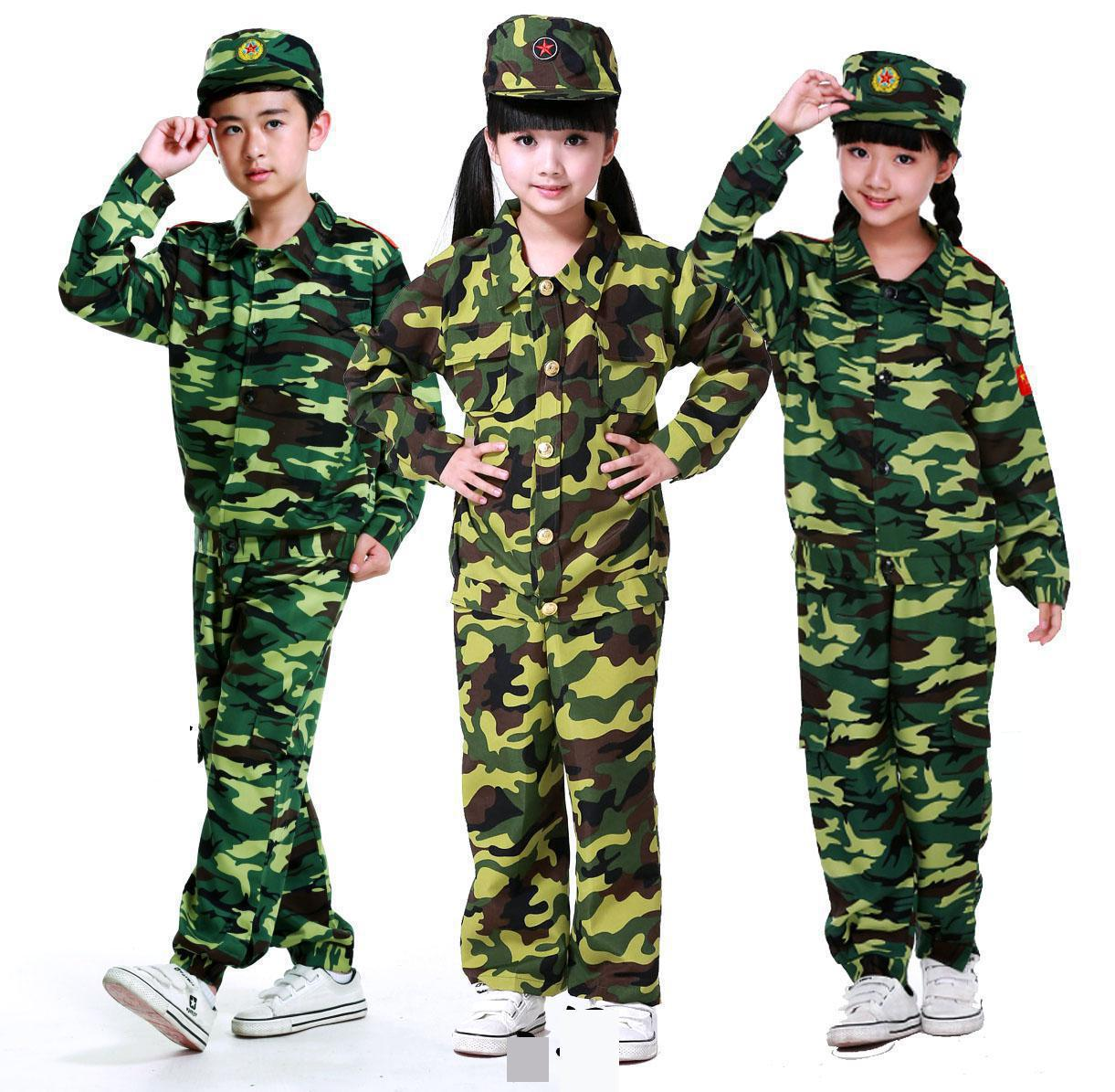 2019 Kids Battle Soldier Costume Boys Girls Military Uniform Cosplay Carnaval Costume For Kids Camouflage Costume For Childrens