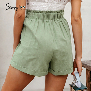 Image 3 - Simplee מקרית נשים גבוהה מותן מכנסיים מוצק ירוק קיץ חוף סגנון נופש גבירותיי מכנסיים קצרים כיס טבעת blet אבנט קפלי מכנסיים