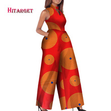 2019 African Print Women Jumpsuit O-Neck Sleeveless Autumn Sexy Romper Wide Leg Pants Ladies Jumpsuits Rompers WY2244