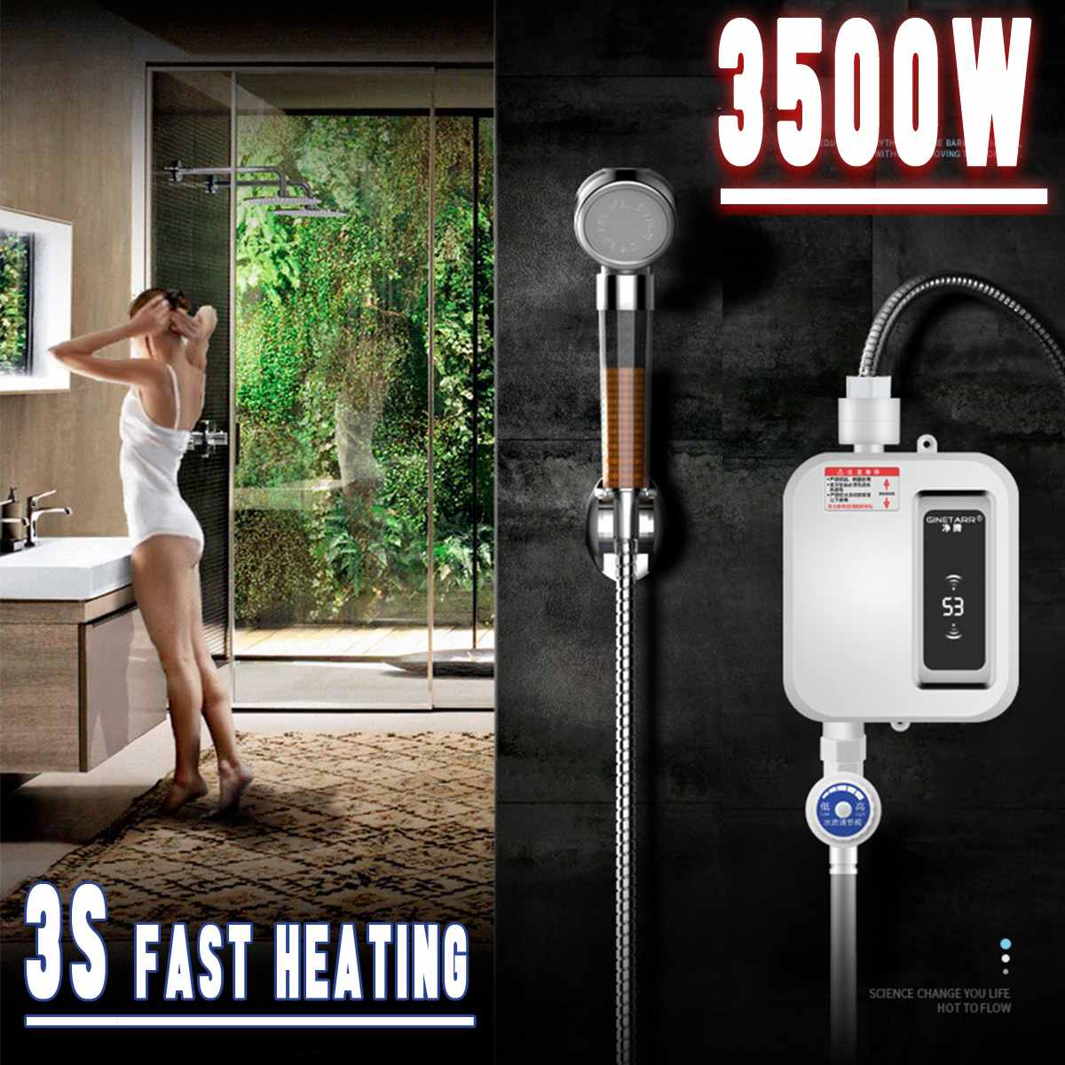 3500W Water Heater Mini Electric Tankless Instant-Hot Water Heater Kitchen Faucet Tap Heating Waterproof Thermostat Intelligent