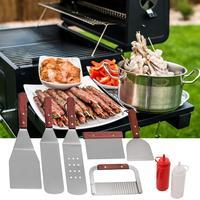 Stainless Steel Frying Shovel Set Western Steak Pizza Shovel Plus Salad Ketchup Bottle Spatula Set Color Box Kitchen Gadget Sets    -