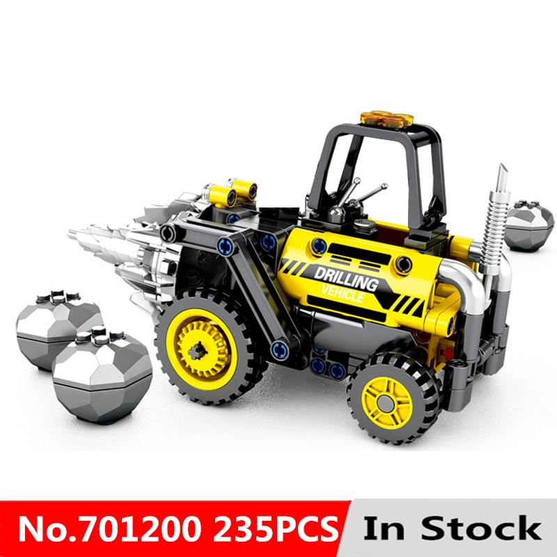 Technic Series Drilling Vehicle Roller 235Pcs Engineering Building Blocks Bricks Educational Toys For Kids Children