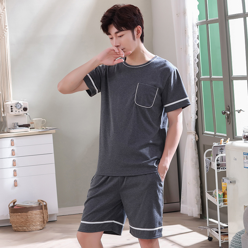 New O-Neck Full Cotton Mens Summer Short Sleeve Shorts Pajamas Set Big Size L-4XL Sleepwear Leisure Suits Nightwear Men Pijamas
