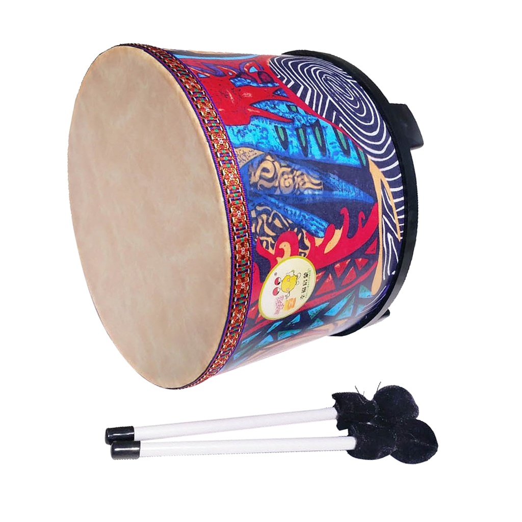 10inch Wood Hand Drum Kids Small Percussion Toys with Mallets Beaters