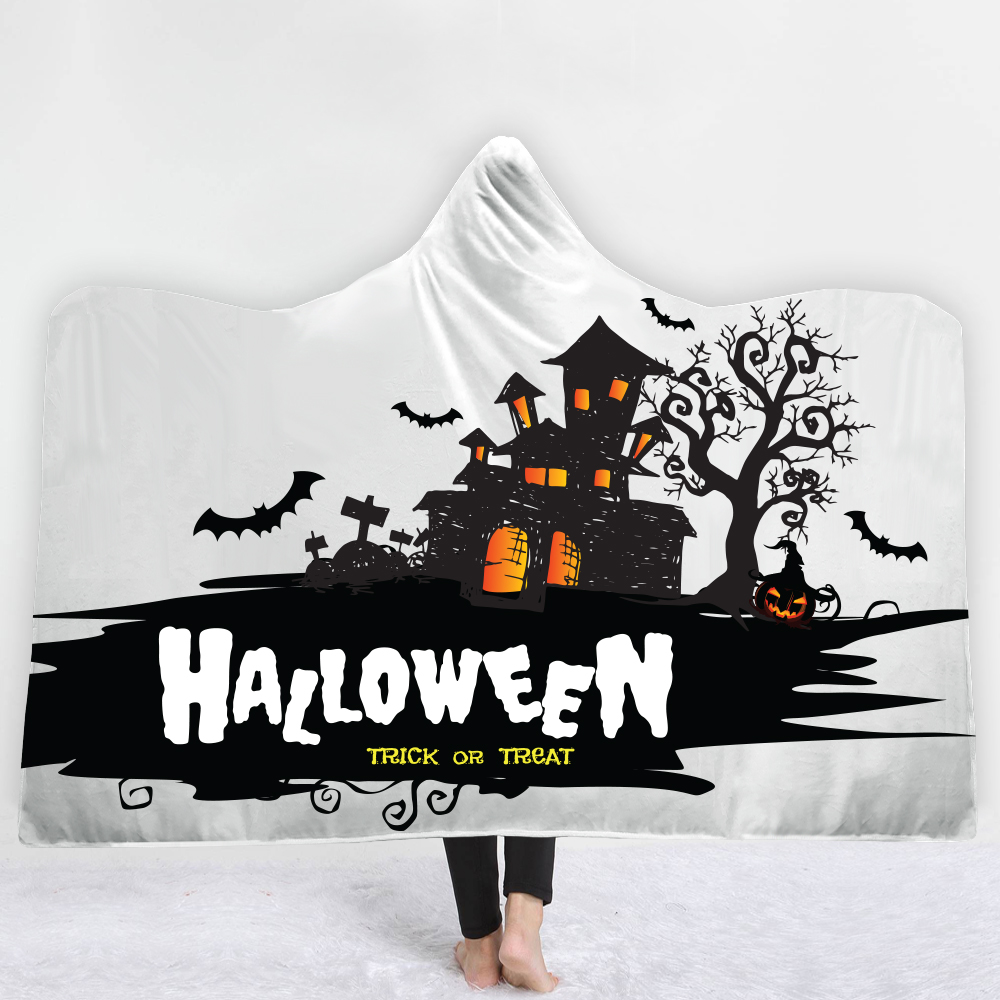 Custom DIY Printing Pumpkin Hooded Blanket Halloween Sherpa Fleece Wearable Nightmare Print Throw 150x200cm