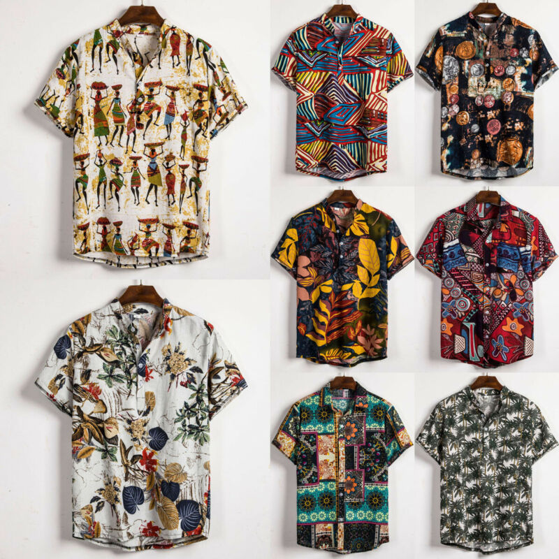 Men Linen Short Sleeve Shirt Summer Floral Loose Baggy Casual Hawaii Holiday Beach Shirts Tee Tops Buttons Blouse National Style