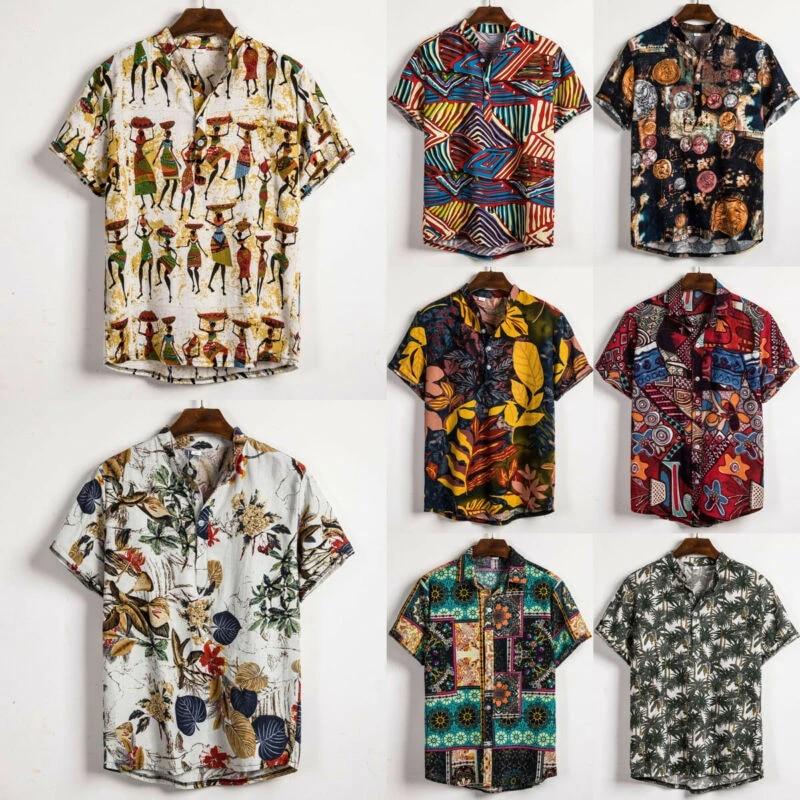 Men Hawaiian Floral T Shirt Summer Short Sleeve Beach Holiday Casual Tops Blouse