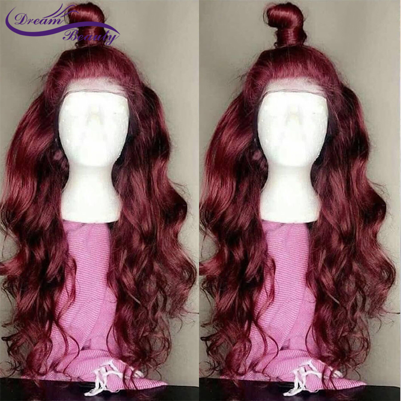 1b/99J Colored Lace Front Human Hair Wigs 13X4 Ombre Burgundy Lace Front Wig Pre Plucked Brazilian Remy Wavy Wig Dream Beauty