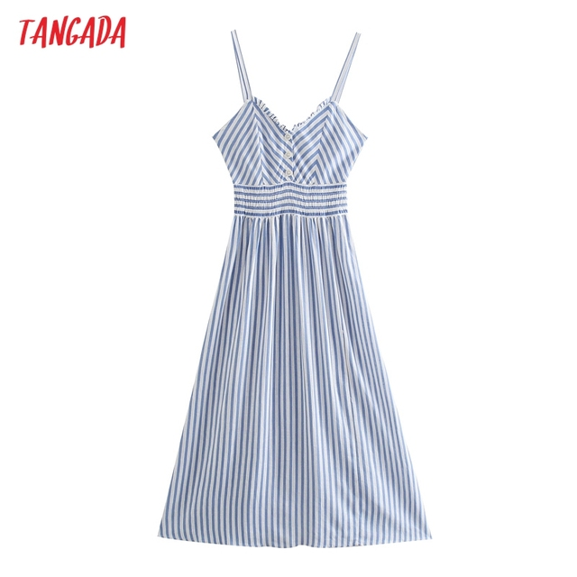 Tangada 2021 Fashion Women Blue Striped Print Strap Long Dress Sleeveless BacklessFemale Sundress 3H404 1