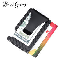 Bisi Goro 2019 Mini Card Case New Men RFID Anti-thief Credit Card Wallet Carbon Fiber Business Bank ID Card Holder Slim Wallet(China)