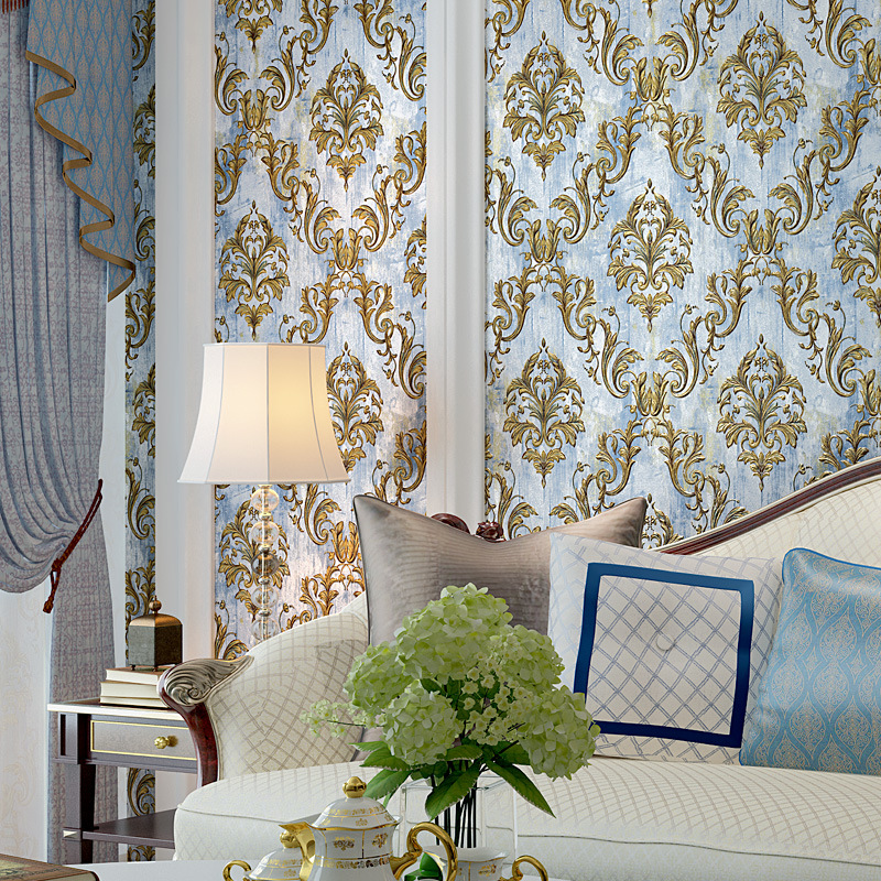 Thick 3D European Style Damascus Non-woven Wallpaper Living Room Bedroom Stores Villa Clubhouse Model House Wallpaper