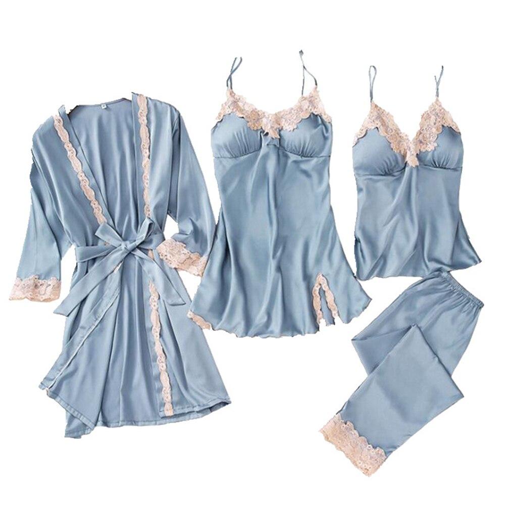Women Pajamas 2019 5pcs XXL Satin Sleepwear Warm Winter Sets Sexy Lace Robe Embroidery Lounge Pajamas Kit Sleeveless Nightwear