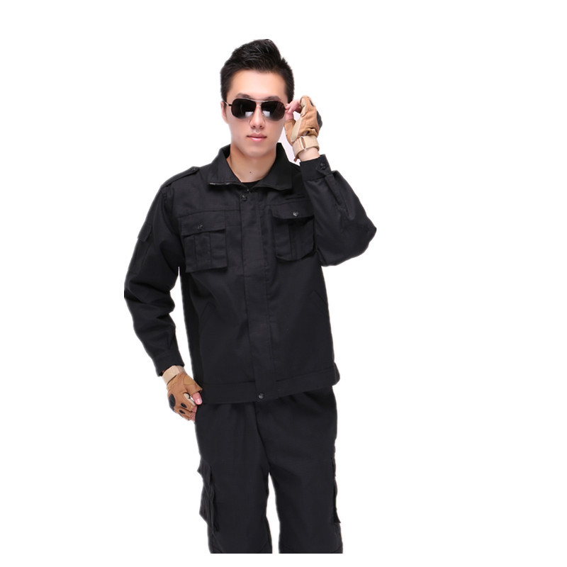 Black Long Sleeves Security Staff Training Clothes Set Men's Anti-Resistant Profession Training Work Clothes Security Staff Suit